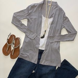 J Crew Gray and White Striped Cardigan